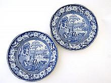 A pair of 19th Century blue and white transfer