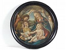 After Sandro Botticelli Coloured print , a tondo '