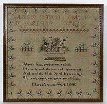 Sampler : Mary Parris ...1840' , a framed linen