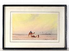 O T early XX Arabic School Watercolour Two Arabian