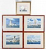 Yachting : after Terry Bailey (1941) Cornish A set of 4 coloured prints ' The Evelyn off St. Mawes ' ' The Florence off Carricknath ' ' The Eve off Pendennis ' & ' Sunbeams off St . Mawes ' All titled and signed in facsimile under Each aperture, Terry Bailey, Click for value