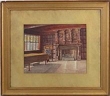 A F Findlay (c.1900), Watercolour, Interior of ' The Old Guildhall Lester '
