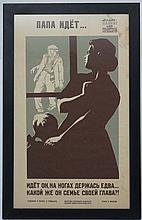 Soviet Union Propaganda Poster : images and Cyrillic , a Drunken father is