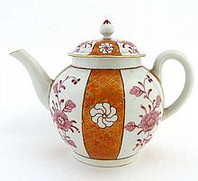 An 18thC polychrome tea pot decorated with