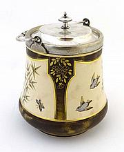 A c1860 MacIntyre biscuit barrel decorated with
