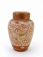 A Kutani baluster shaped jar, lid and domed cover