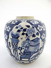 A large blue & white Oriental ginger jar, with