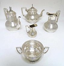An interesting 5-piece silver plate teaset  by G.R Collis & Co. the pieces