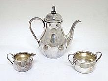 An early 20thC Danish silver plate 3-piece coffee set probably by Carl M Co