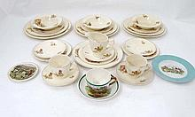 Hunting: A collection of hunting ceramics to include a part tea set compris