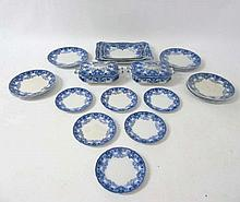 An early 20thC Ford & Sons Burslem Flow Blue and white dinner service in De
