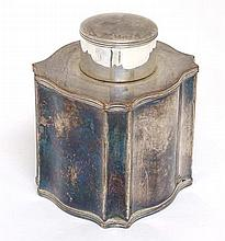 A shaped silver plate tea caddy with reeded decoration 3 3 /4'' high overal