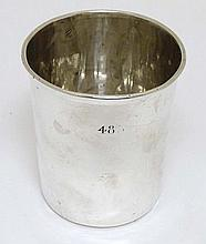 A Continental white metal beaker Probably French. Approx 3 1/4'' high