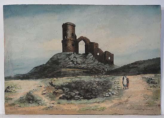 E J B Evans 1889 Watercolour Figures stood before