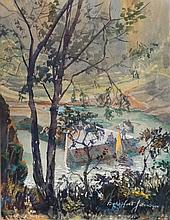 Beresford Johnson ( 1900-?) , Watercolour and Gouache, Figures playing at an Inlet jetty, Signed lower right, 17 1/4 x 13 1/2'',