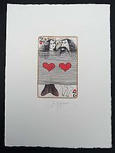 Yurly (Yuri) Nozdrin (b.1949) Russian Lithuanian Hand embellished signed etching 2 of Hearts Playing card Signed in pencil under The page 7 3/4 x 5 3/4'' He has works displayed in the Puskin State Museum of Fine Arts , Hermitage and various other