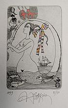 Yurly (Yuri) Nozdrin (b.1949) Russian Lithuanian , Hand embellished limited Edition signed etching, Queen of Spades Playing card ' 1999 41/50 ' Signed, dated and numbered in pencil under , The page 7 3/4 x 5 3/4'' He has works displayed in the Puskin
