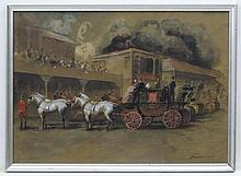 Alfons Purtscher (1885-1962) Austrian, Equine School, Gouache, watercolour and pencil, 'Richmond Horse' show four in-hand horses and carriages etc, Signed and dated '1927' lower right, titled lower left, 14 1/2 x 20 1/2''