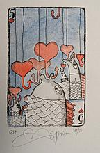Yurly (Yuri) Nozdrin (b.1949) Russian Lithuanian, Hand embellished limited Edition signed etching, Five of Hearts Playing card ' 1997 39/50 ' Signed, dated and numbered in pencil under , The page 7 3/4 x 5 7/8'' He has works displayed in the Puskin