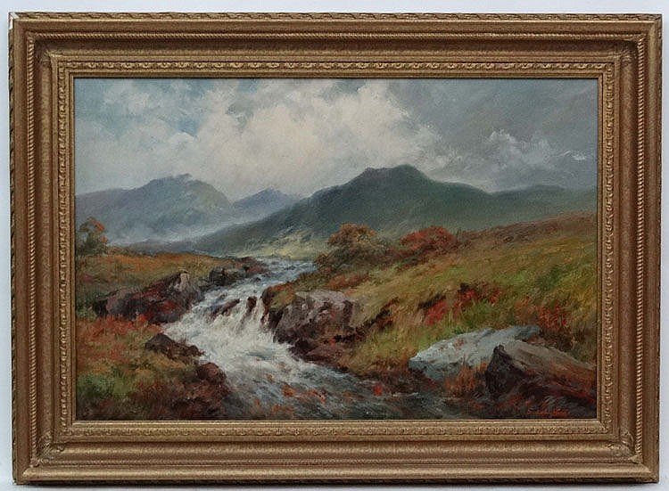 Sidney Watts Early -Mid XX, Oil on canvas, A river torrent ' In the Berwyn Mountains', Signed lower right and titled verso. 16 x 24''