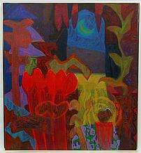 Rafiee Abdul Ghani (b1962). Malaysian, Mixed media ( though mostly acrylic ),  'Le Jardin Series III', 1992, Labelled verso to stretcher, bears marks lower left . 40 x 36'' (Private collection bought at Art Salon, Kuala Lumpur Gallery)