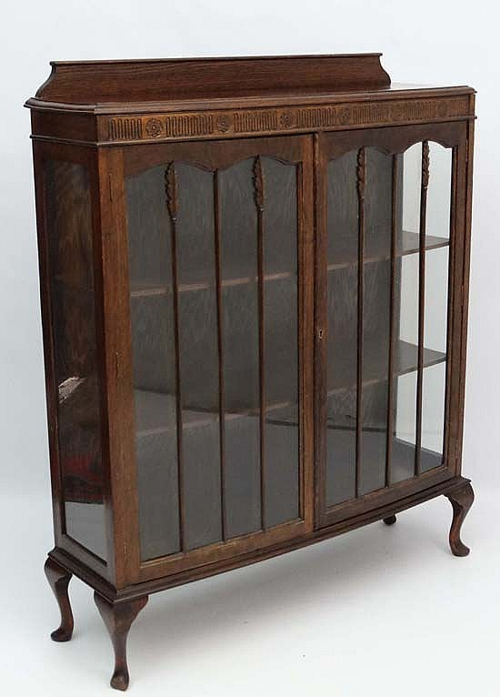 A 1930 S Oak Bow Front Display Cabinet, Short China Cabinet