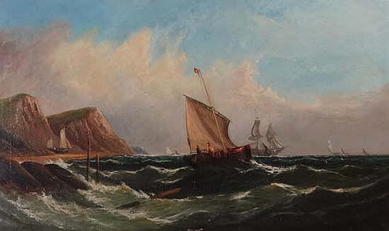 J. Ray XIX British Oil on canvas Marine coastal