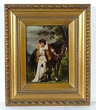 19thC Crystoleum Coloured square convex A horse