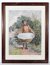 XIX English School Watercolour A young Victorian