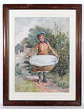 XIX English School Watercolour A young Victorian