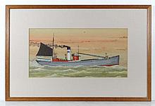 Steam Sail Maritime ship portrait Gouache and