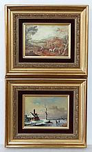 Pair of XX 18thC style paintings Joldy XX , oil on