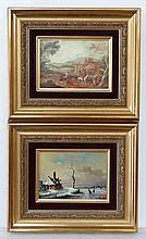 Pair of XX 18thC style paintings Joldy XX , oil on
