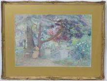 George Herbert Jupp (1869-?), Watercolour, Reading in the garden, Signed lo