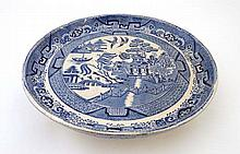 A circa 19thC Willow Pattern Cake Standish. Blue