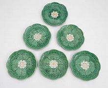 A set of 6 polychrome majolica plates moulded with