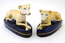 A pair of Victorian Staffordshire pen rests