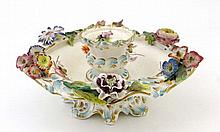 A 19thC porcelain hand painted circular serving