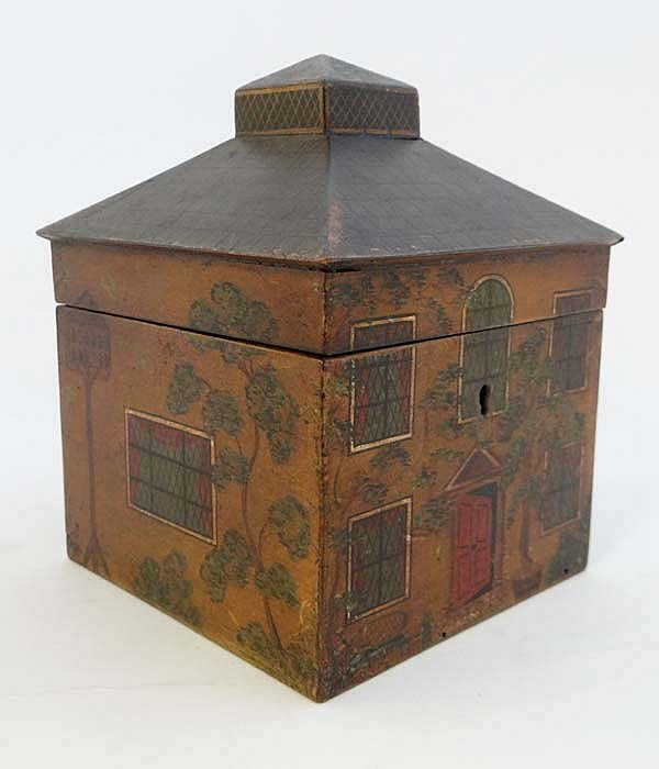 House caddy : a fine circa 1800 painted house Tea