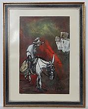 Eddy Dorembos '71 ' Dutch / Spanish School, Oil on canvas , A man and donkey , Signed