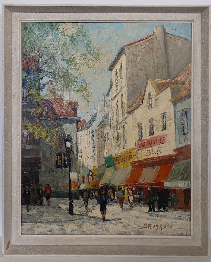 Maurice Brisson (1915- ) French, Oil on canvas, Paris Street (circa 1950). Signed ' B
