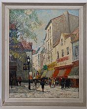 Maurice Brisson (1915- ) French, Oil on canvas, Paris Street (circa 1950). Signed ' B