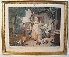 Jean Thouvenin (1765-1828) Coloured etching '