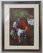 Eddy Dorembos '71 ' Dutch / Spanish School, Oil on canvas , A man and donkey , Signed an