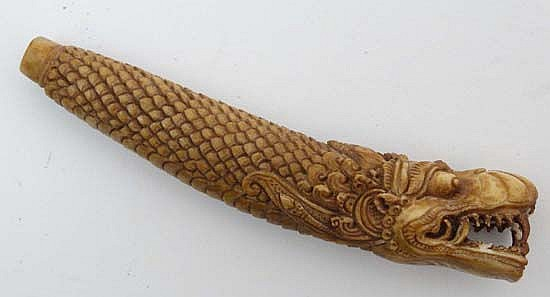 A Carved Bone Knife Handle In The Form Of A Chinese Open Mouthed Dragon 3 7 8 Long