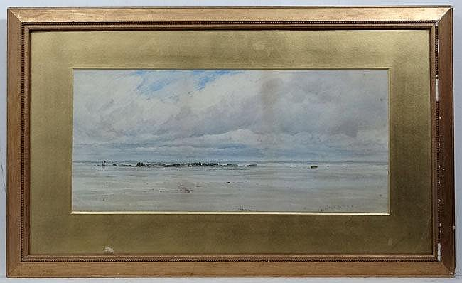 Charles S. Mottram XIX-XX Cornish?,  Watercolour,  Coastal scene with figures ion a beach, s