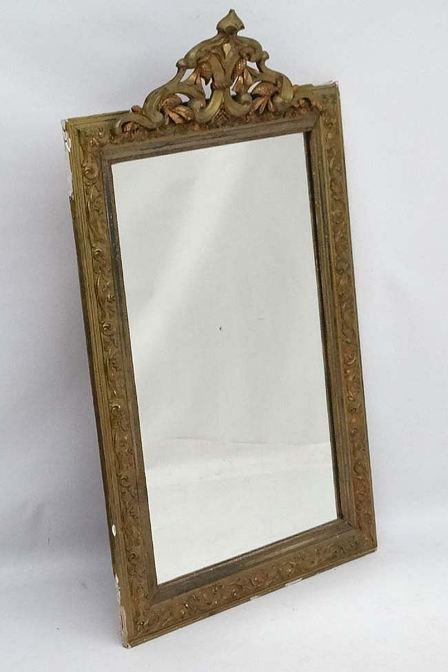 A late 19thC Continental gilt framed mirror. 28'' wide x 46 1/2'' high