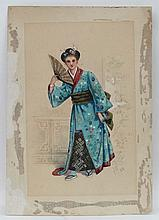 FWHS '82  (XIX), Watercolour and gouache, Chinese lady with a fan in an int