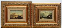 XX Dutch School, Oil on panel, a pair, Winter scene with frozen river and a