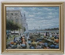 XX Continental School, Oil on canvas, Looking over flowers.  15 1/2 x 19 1/